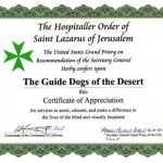 California Commandery donates to the Guide Dogs of the Desert